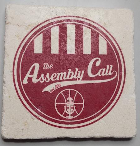 Limestone Coaster with Assembly Call logo Stone Beverage Coaster