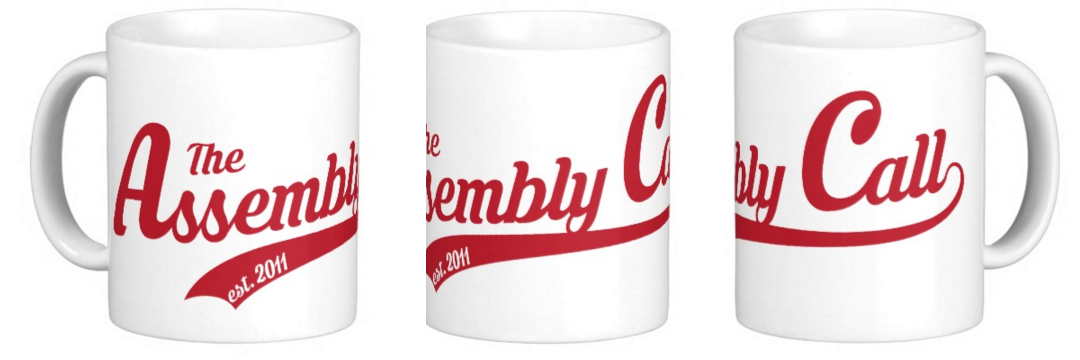 coffee mug with Assembly Call logo