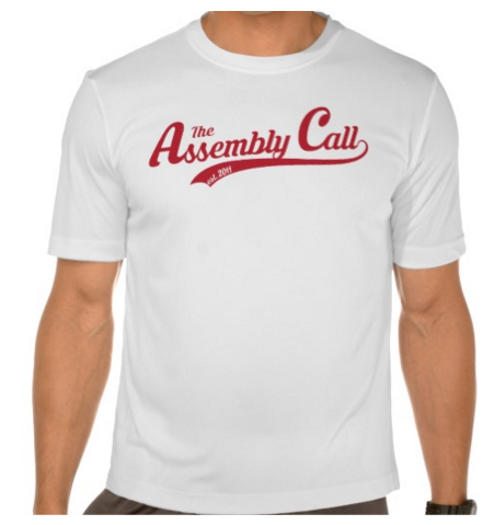 t-shirt with Assembly Call text logo