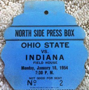 1954 IU Ohio State Press Pass
