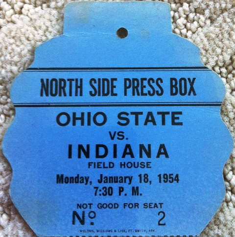 1954 IU Ohio State Press Pass