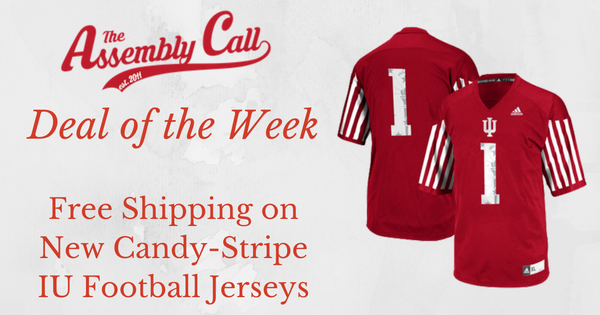 Deal of the Week: Free Shipping on New IU Candy-Stripe Football Jerseys