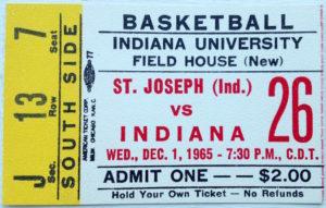1965 Indiana vs. St. Joseph Game Ticket