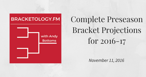Andy Bottoms' Preseason Bracket Projections for 2016-17 Season