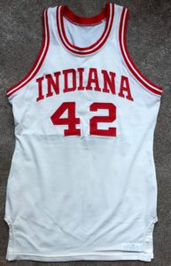 A 1976-77 Mike Woodson IU home jersey manufactured by Medalist Sand-Knit.