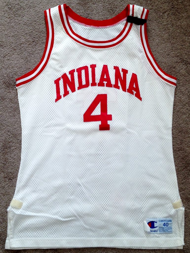 A 1990-91 season Lyndon Jones home jersey, made my Champion, and bearing a black patch in honor of the late IU A.D., Ralph Floyd.