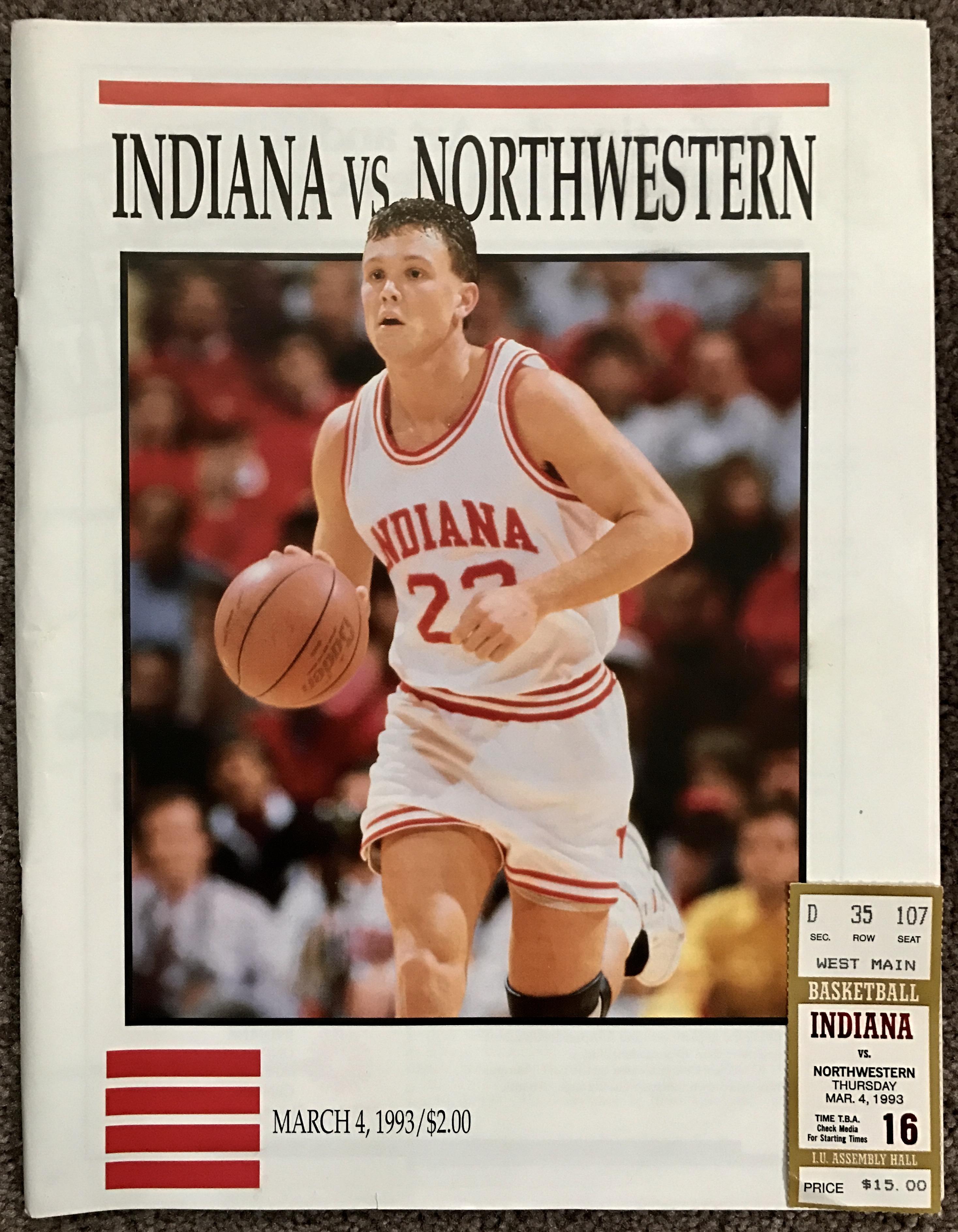 1993 Indiana versus Northwestern Program and Ticket