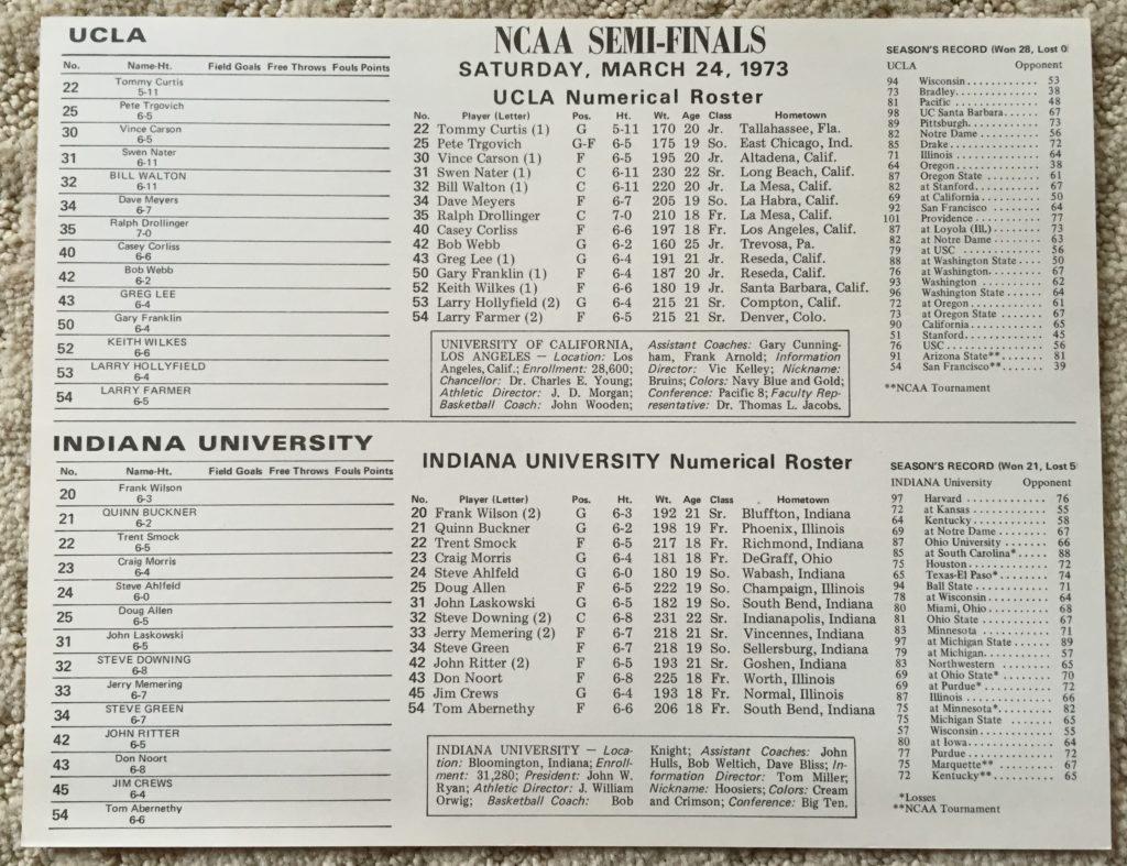 A 1973 Indiana vs. UCLA press flip card.