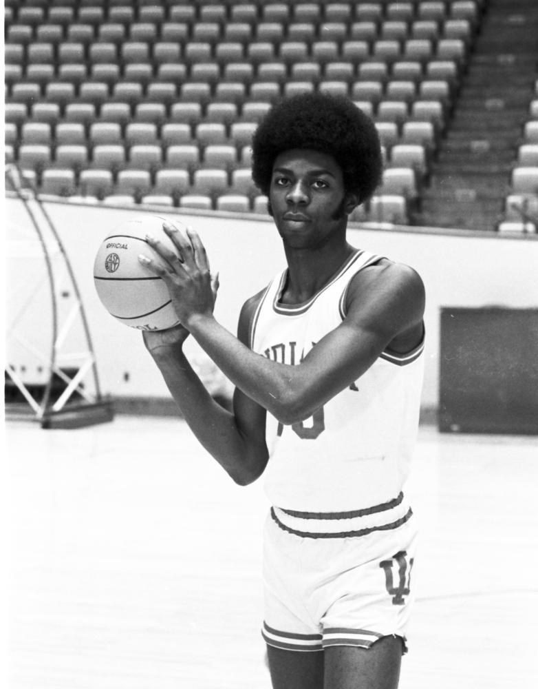 Bobby Wilkerson pictured wearing the first pitchfork design on shorts in this 1974 photo. Courtesy: Indiana University Archives.