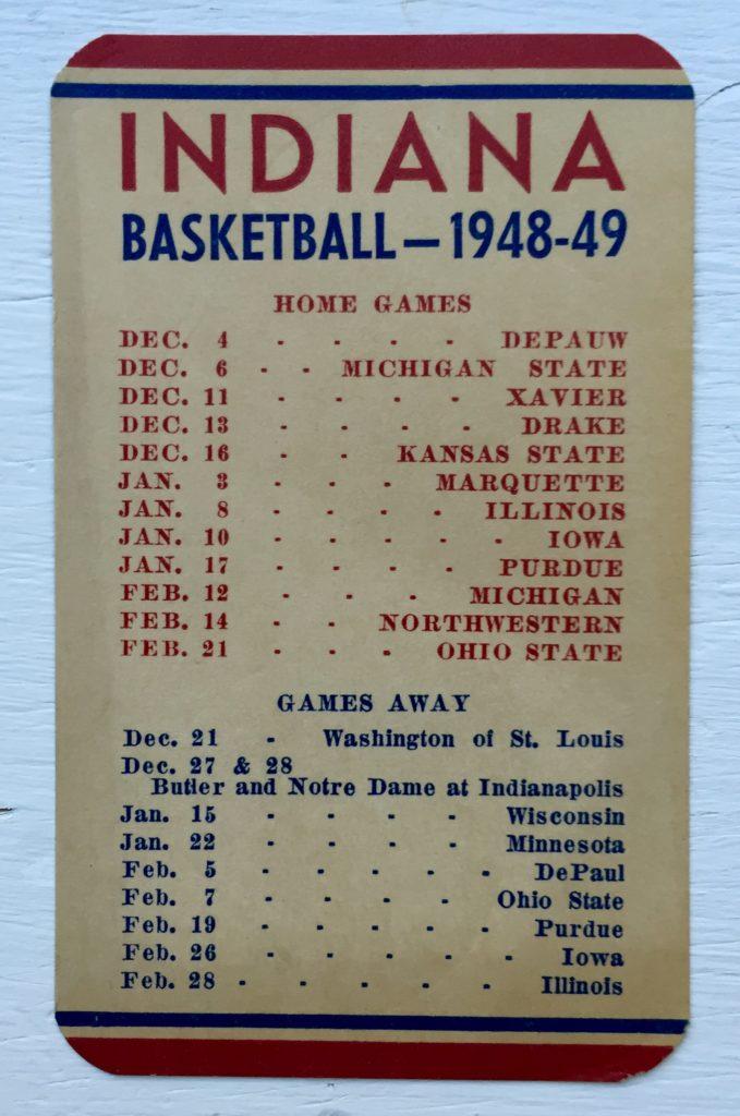 1948-49 IUBB Schedule