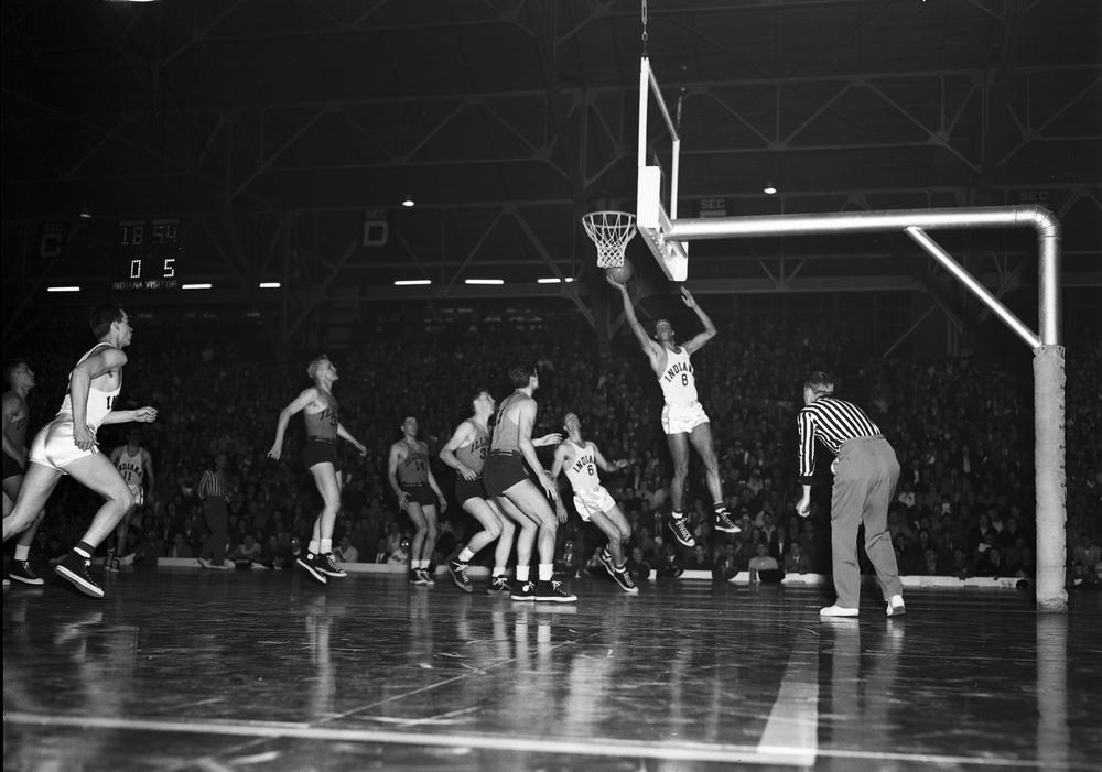 Bill Garrett scores a basket during a 1950 game vs Illinois in the Old Fieldhouse. Photo: courtesy of Indiana University Archives