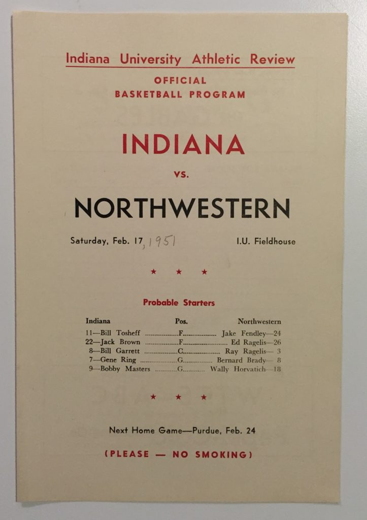 1951 Northwestern at Indiana program. Garrett would lead Indiana with 22 points in the 94-63 blowout.