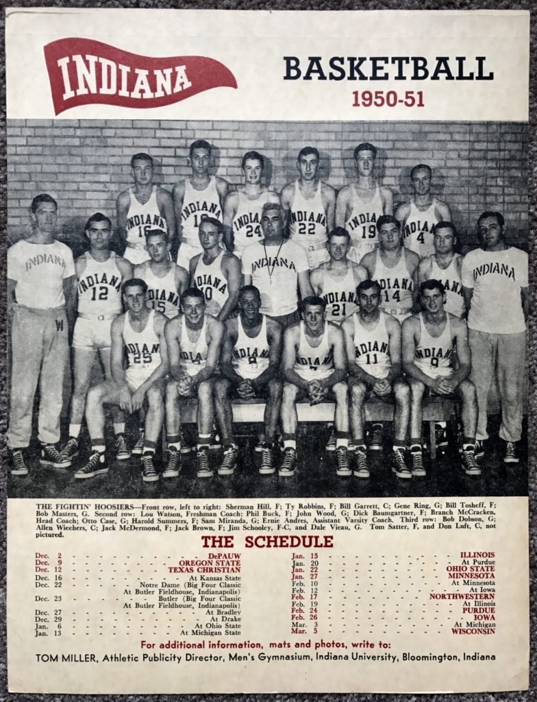 A 1950-51 Indiana basketball schedule stand-up display.