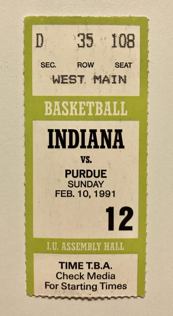 A ticket stub from the 1991 Indiana-Purdue contest in Bloomington.