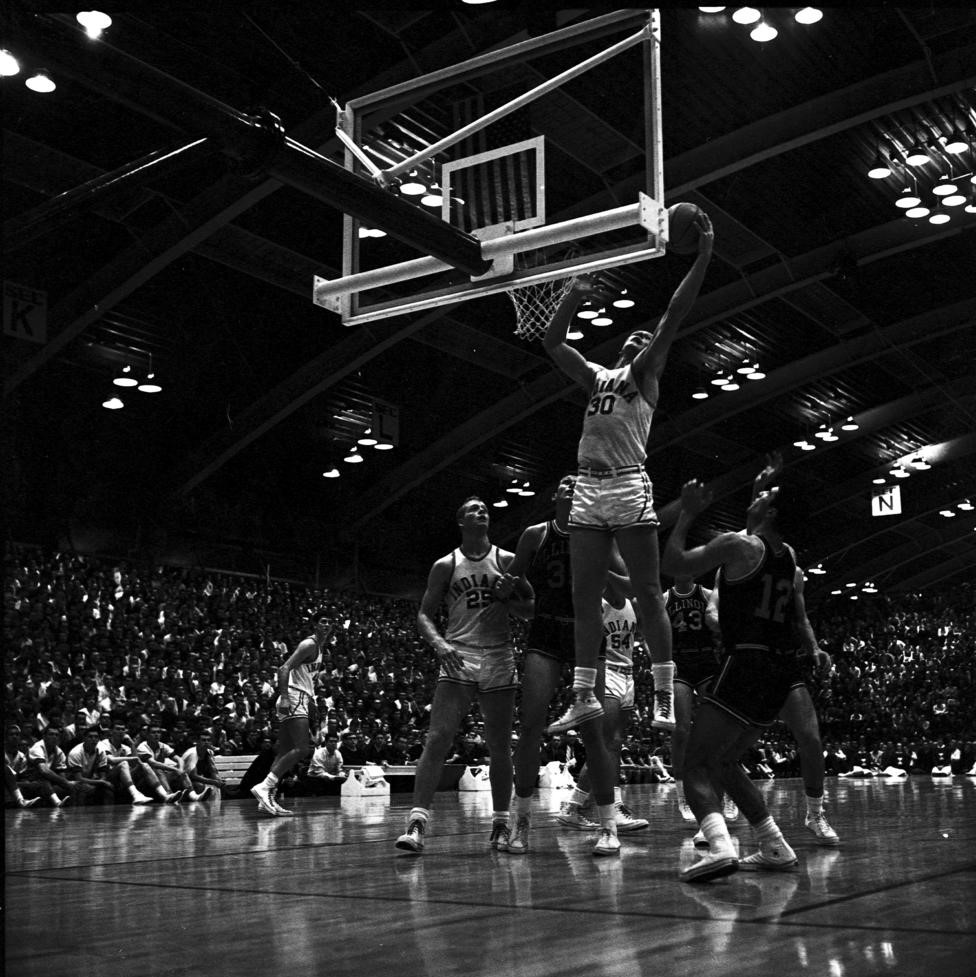 """Tom Van Arsdale grabs a rebound against Illinois in the """"New"""" (Gladstein) Fieldhouse. Photo: courtesy of Indiana University Archives."""