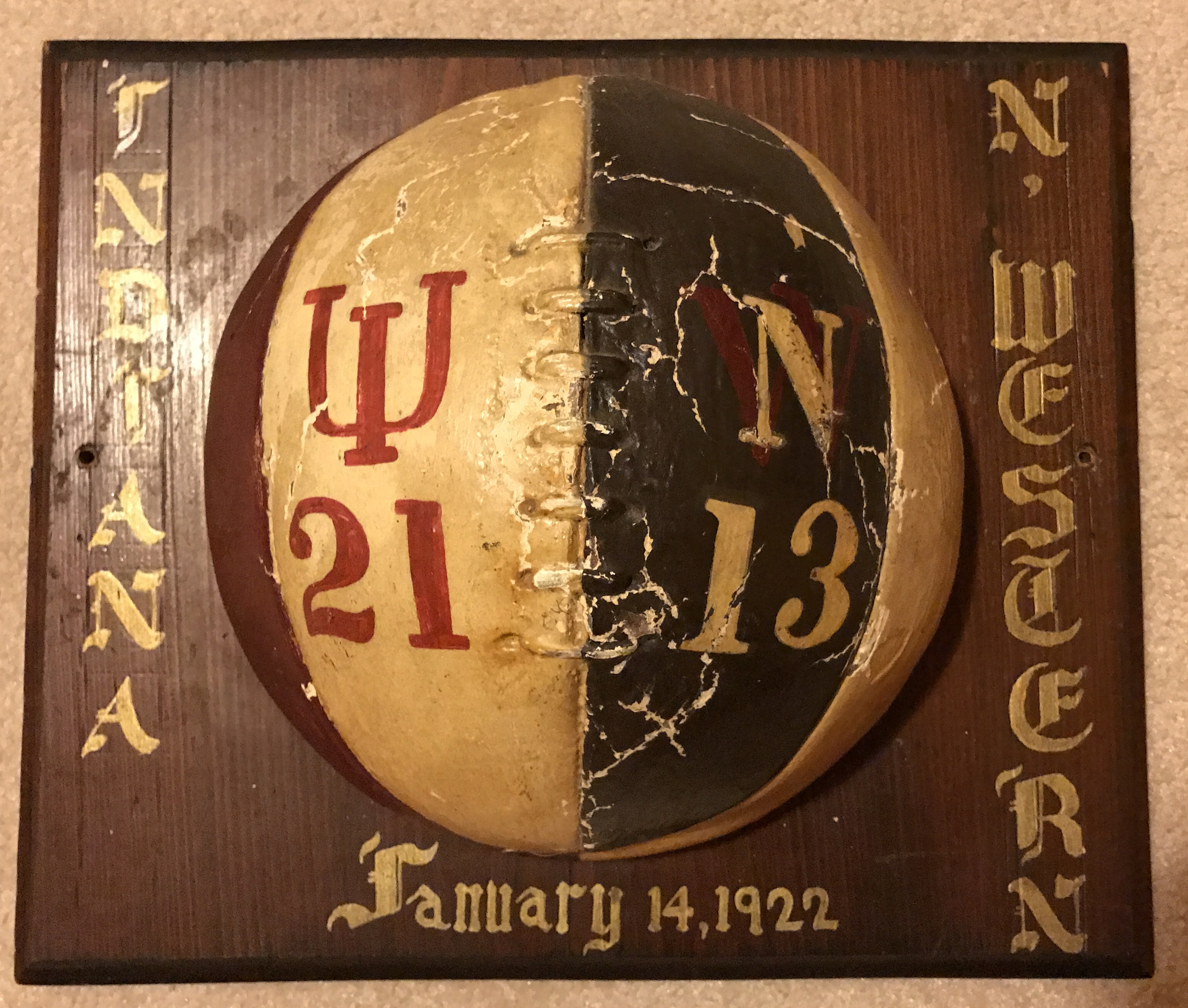 1922 Indiana v Northwestern Game Ball Trophy