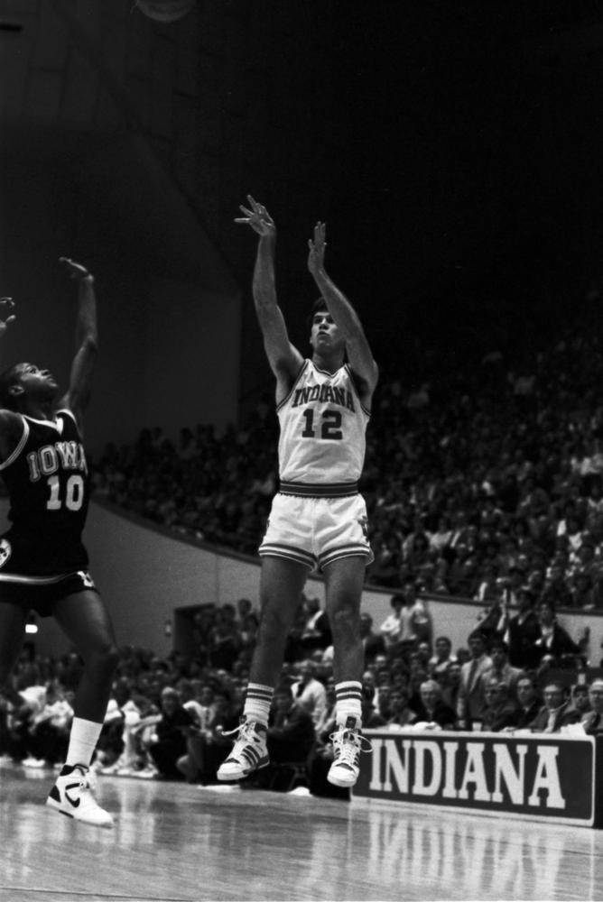 Steve Alford shoots over Iowa's B.J. Armstrong during Indiana's 84-75 victory over the Hawkeyes on 2/21/1987 at Assembly Hall. Photo: courtesy of Indiana University Archives.