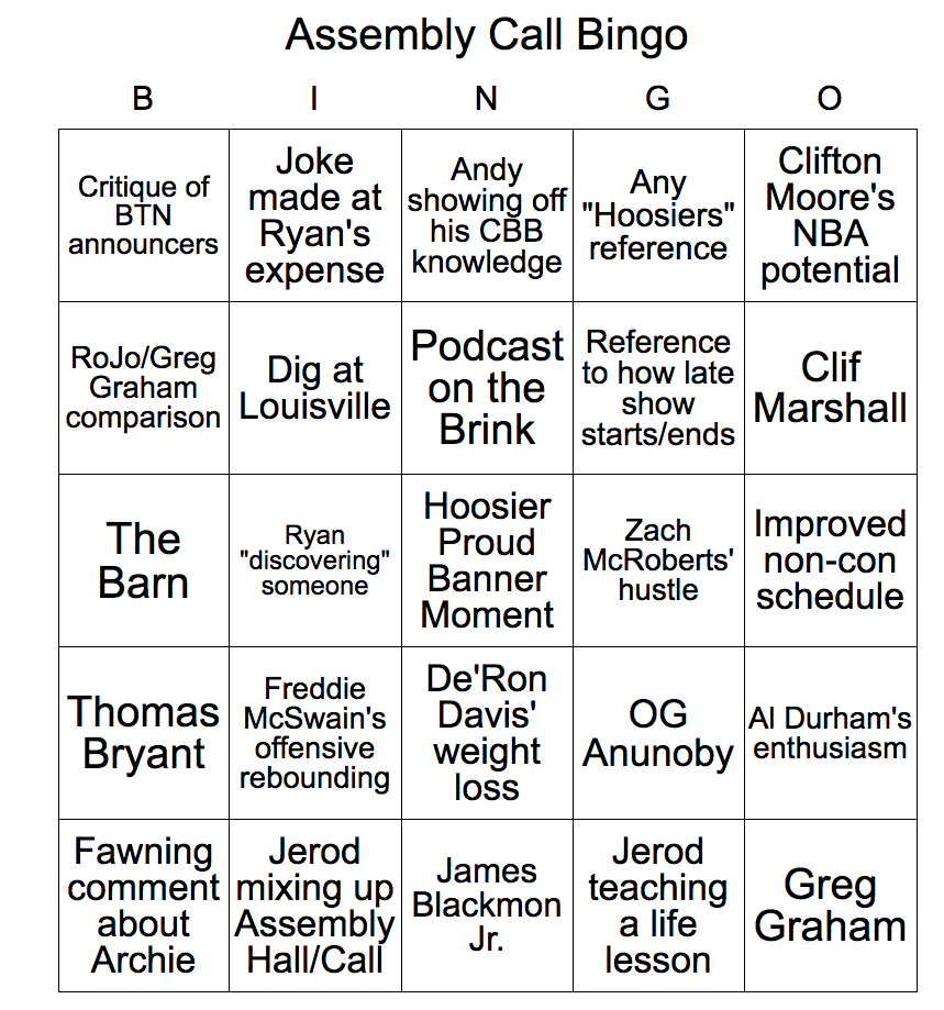 Assembly Call Bingo
