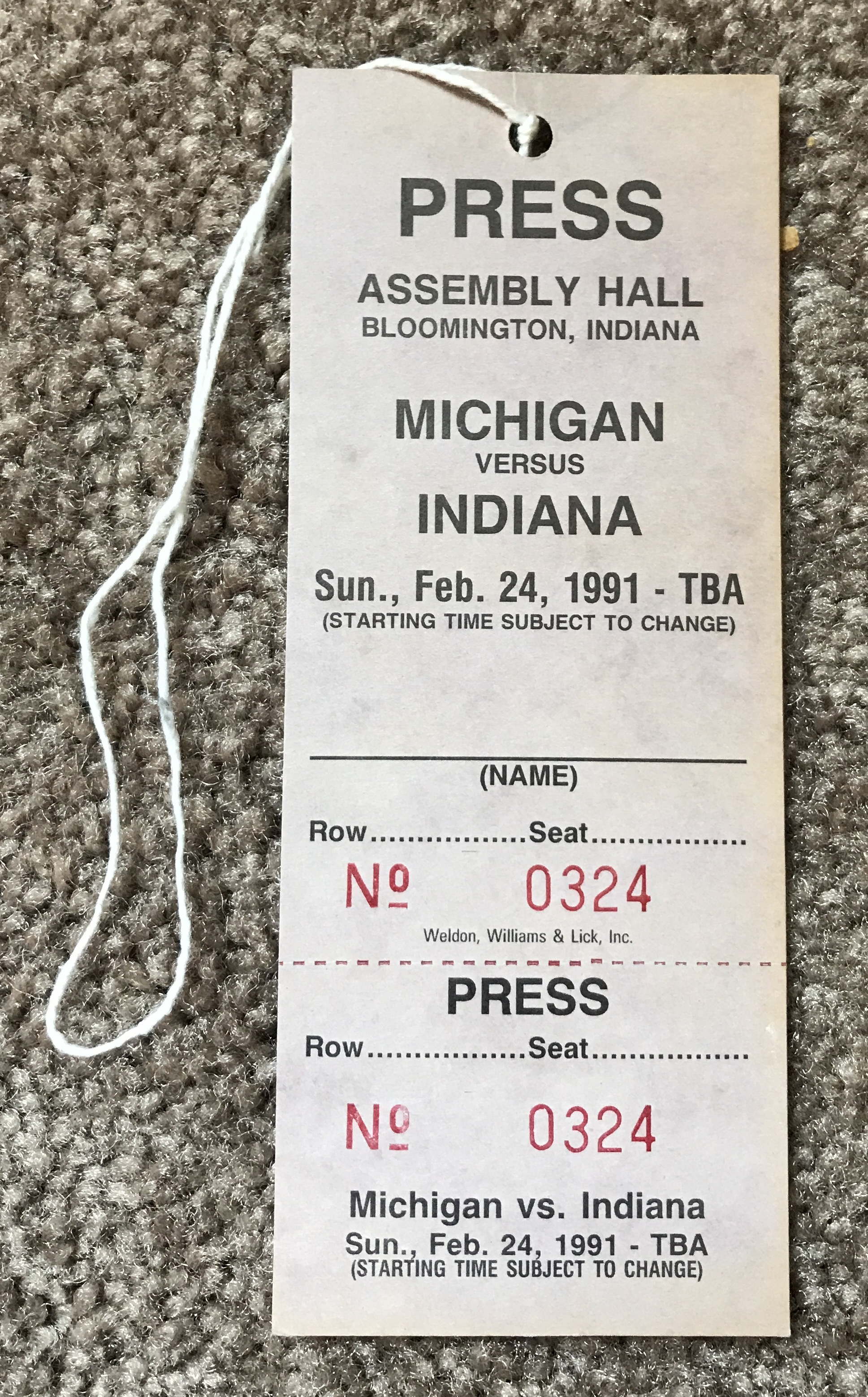 1991 Indiana v Michigan Press Pass