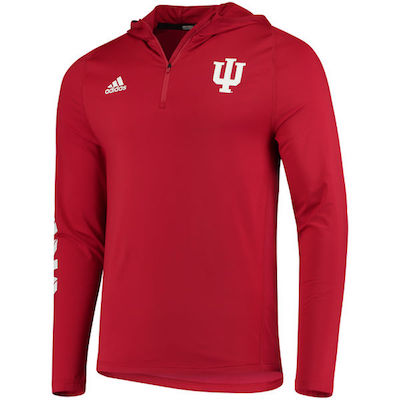Men's adidas Crimson Indiana Hoosiers 2017 Sideline Training 1/4 Zip Hoodie